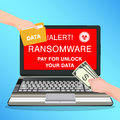 Laptop computer infected ransomware virus pay for unlock data