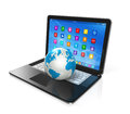Laptop computer and world globe d apps icons interface on white Royalty Free Stock Image