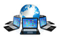 Laptop computers around world globe d apps icons interface on white Royalty Free Stock Photos