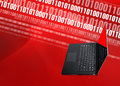 Laptop digital binary background a thin bright with code steaming in the with copy space Stock Photo