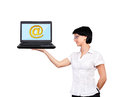 Laptop with email icon woman holding Stock Images