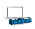Laptop feedback d blue sign illustration design over white Stock Image