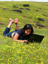 Laptop in the Fields Stock Image