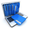 Laptop and folder blue on white background Royalty Free Stock Images