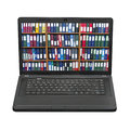 Laptop with folders on screen, concept Royalty Free Stock Images