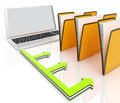 Laptop And Folders Shows Administration And Organized Royalty Free Stock Image