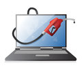 Laptop with a gas pump nozzle illustration design over white background Stock Photography