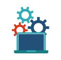 laptop and gears icon. Blog concept. Vector graphic