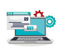 Laptop gears and shopping online design
