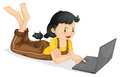 Laptop and girl illustration of a on a white background Royalty Free Stock Image