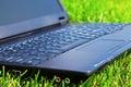 Laptop on grass Royalty Free Stock Photo