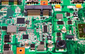 Laptop green mother board close view Royalty Free Stock Photo