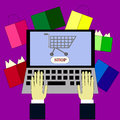 Laptop with hands online shopping with computer