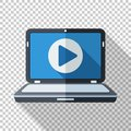 Laptop icon with play button on the screen in flat style on transparent background