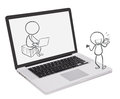 A laptop with an image of two boys playing different gadgets illustration on white backround Stock Images