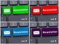 Laptop keyboard button with newsletter Royalty Free Stock Photo