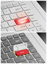 Laptop keyboard with hack buttons Stock Photos