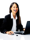 Laptop laugh woman Royalty Free Stock Image