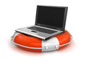 Laptop and lifebuoy clipping path included image with Royalty Free Stock Photo