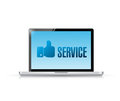 Laptop and like service illustration design over a white background Royalty Free Stock Photo