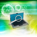 Laptop with magnifying glass in color background Stock Images