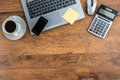Laptop, Mobile Phone and coffee cup on work desk Royalty Free Stock Photo