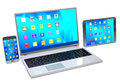 Laptop, mobile phone and tablet pc  on white background. Royalty Free Stock Photo