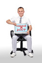 Laptop with need a job businessman sitting in chair and holding Stock Photography