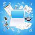 Laptop and office items the concept of digital Stock Photography