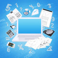 Laptop and office items the concept of digital Royalty Free Stock Photography