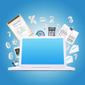 Laptop and office items the concept of digital Stock Photo