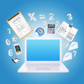 Laptop and office items the concept of digital Stock Image