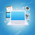 Laptop and office items the concept of digital Royalty Free Stock Photo