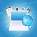 Laptop and office items the concept of digital Stock Images