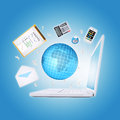 Laptop and office items the concept of digital Royalty Free Stock Image
