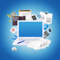 Laptop and office items the concept of digital buisness Stock Image
