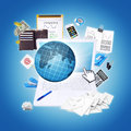 Laptop and office items the concept of digital buisness Royalty Free Stock Images