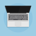 Laptop open in flat style top view concept illustration. Royalty Free Stock Photo