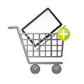 Laptop over cart Royalty Free Stock Photography