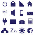 Laptop and pc indication icons eps blue Royalty Free Stock Photos