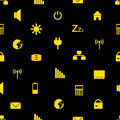 Laptop and pc indication icons pattern eps yellow Stock Photo