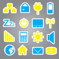 Laptop and pc indication stickers eps color Royalty Free Stock Images