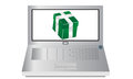 Laptop with a present cartoon of pc lovely green Stock Photos