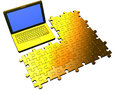 Laptop and puzzle Royalty Free Stock Photo