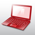 Laptop red vector on white background Stock Photography
