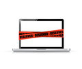 Laptop with a reserved red tape illustration design over white Royalty Free Stock Photos