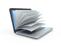Laptop screen as a notepad or book stock photo on white background Royalty Free Stock Image