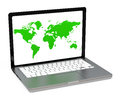 The laptop screen d generated picture of a with a green world map Royalty Free Stock Photography