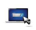 Laptop search button and cursor illustration design over white Stock Images