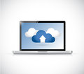 Laptop and set of clouds illustration design over white Stock Photography